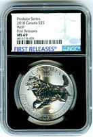 2018 $5 CANADA 1 OZ SILVER WOLF NGC MS69 RARE FIRST RELEASES BLACK CORE HOLDER
