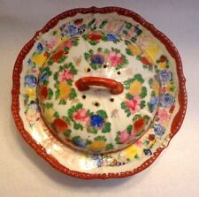 ANTIQUE GEISHI HAND PAINTED PORCELAIN PANCAKE WARMER PLATE FROM 1904