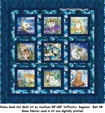 "Beautiful Digital Printed Feline Good Cat Quilt kit Kaufman 55x55"" Be Pawsitive"