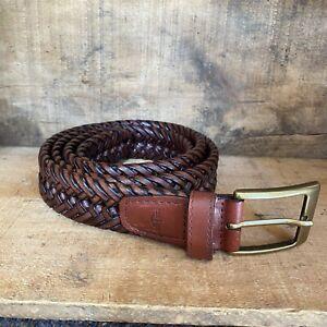 """Dockers Braided Leather Belt 1 1/4"""" Width Brass Buckle Men's 44"""