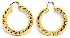 Approx 50mm 18K Yellow Gold Filled 8mm Thick Ladies Creole Hoop Earrings
