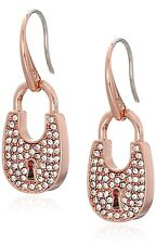 NEW-MICHAEL KORS HERITAGE ROSE GOLD TONE,PAVE PADLOCK DROP EARRINGS MKJ4891