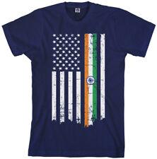 Indian American Flag Men's T-Shirt India Descent US Pride