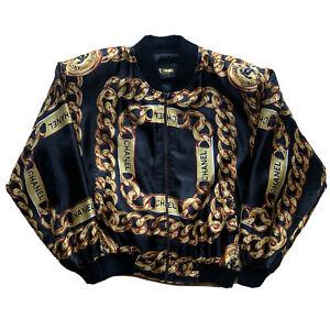 Vintage Chanel Chain Bomber Jacket Medium Black Gold Full Zip 80s Designer Hype