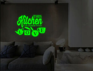 Luminous Kitchen Seasoned With Love Wall Stickers Kitchen Lounge Decals UK 32ji