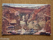 Vintage Postcard:  WW1 Tommy's Look Out ina Captured German Trench at Ovillers