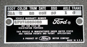 1965 Mustang Falcon Data Plate Stamped with your Paint, Body, Color information