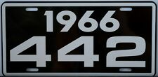 1966 66 OLDSMOBILE 442 LICENSE PLATE OLDS W30 W31 400 455 HURST F85 CUTLASS M21