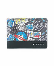 RIP CURL MENS WALLET.ROCKERED BLACK MONEY CREDIT CARD COIN NOTE PURSE 7W UPV4 90
