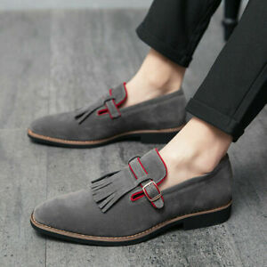 Mens Faux Suede Pointed Toe Buckle Strap Oxfords Fashion Casual Shoes Plus Size