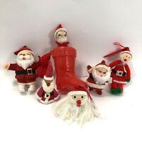 Vintage Santa Christmas Ornaments Flock Felt Yarn Lot of 6 Tree Decoration