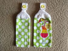 Crocheted top kitchen towels- Umbrella Drink Dish Towels with white tops