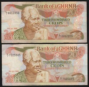 1986 Ghana 200 Cedis Bank Notes | Pennies2Pounds