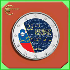 """2 Euro Coin  Gedenkmünze Slowenien 2016 """"Unabhängigkeit Republik"""", coloriert"""