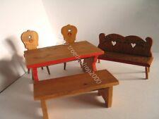 516) alte Puppen Stube Bauern Sitzgruppe Essecke Essgruppe Stühle Tisch Holz