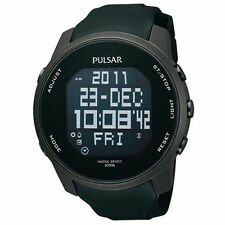 Pulsar Silicone/Rubber Band Stainless Steel Case Watches