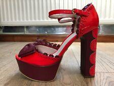 KG Kurt Geiger 70's Style Red/Burgundy Platform Heels with Bow UK5/58