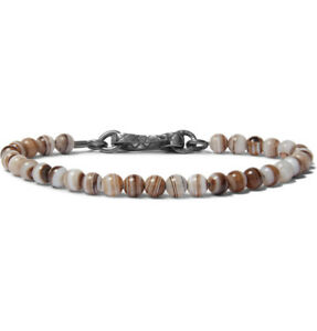 New $450 BOTTEGA VENETA Quartz Bead Bracelet size Medium Brown 22cm