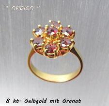"""Gelbgoldring 333/ mit Granat    """"made in  Idar-Oberstein""""    OPDIGO"""