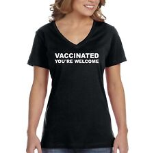 Women's Vaccine Science Vaccinated You're Welcome V-neck T-shirt