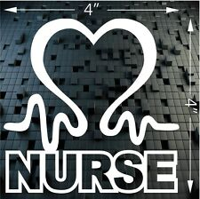 "Registered Nurse Sticker. Heart And Pulse Love Decal For Car Window White 4""x4"""