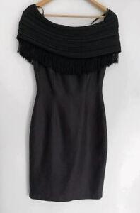 LISA HO Original Vintage Black Pencil Pinup Pure Linen Fringe Dress 8 6