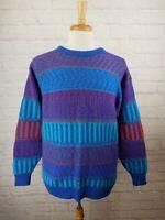 Vintage 90's Jantzen Men's XL Crewneck Knit Sweater Striped Wool Blend USA Vtg
