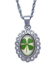 Lucky Four Leaf Clover Irish Shamrock Necklace St. Patrick's Day Jewelry n2075