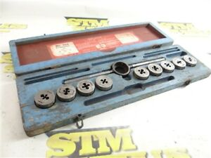 """GTD LITTLE GIANT THREADING DIE SET W/ WRENCH & CASE 1/4""""-28NF TO 1/2""""-13NC"""