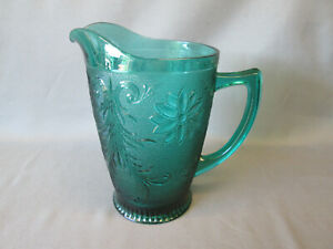 """Tiara Coloniel Blue Sandwich Indiana Glass 9"""" tall Large Water Serving PITCHER"""