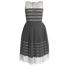 JIL SANDER $3,345 pleated sheer mesh stripe strips gray silk dress 34-F/2-US NEW