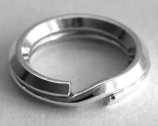 ONE SECURE STERLING SILVER BEVELLED SPLIT RING, 9 MM, SAFER THAN A JUMP RING