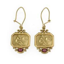 Seidengang Vintage Pink Tourmaline Diamond 18k Gold Dangle Earrings
