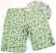 Duck Head Womens Shorts 7 Green Plaid Floral Long Bermuda Khakis Flap Pockets 46