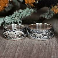 925 Silver Wolf Loyalty Women Men Couple Ring Wedding Party Jewelry # 6-10 New