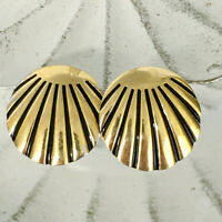 MONET gold-tone black enamel vintage post earrings - signed circle rays pierced
