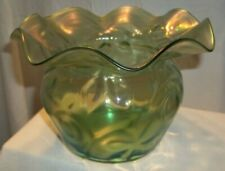 Gorgeous Vintage  Green Iridescent Frosted Art Glass Bulbous Vase Ruffled Rim