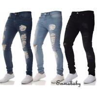 Men's Stretch Ripped Skinny Jeans Distressed Frayed Slim Fit Biker Denim Pants