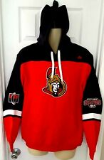 OTTAWA SENATORS Mens Hoodie Medium Embroidered Logos Patches Red Unisex Majestic