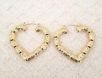 14K Gold Tone Heart Shape Bamboo Style Hoop Earrings Door Knocker  #33