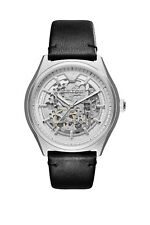 NEW EMPORIO ARMANI MEN'S ZETA WATCH AR60003 MECCANICO - SILVER BLACK STRAP