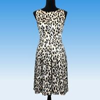 White House Black Market Dress 10 Beige Animal Print Dot Satin Pleat Pockets LN