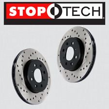 FRONT [LEFT & RIGHT] Stoptech SportStop Cross Drilled Brake Rotors STCDF44146