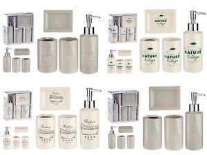 Bathroom Accessories Set Ceramic Soap Dispenser Dish Tumbler   Beige Grey 4 pcs