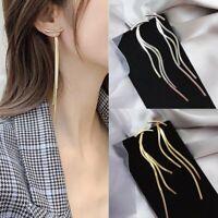 Fashion Long Thread Tassel Drop Dangle Earrings Women Glossy Ear Stud Jewelry