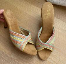 Vintage 70s Sandals 7.5 Narrow 7 1/2 7 8 Rainbow Heels Shoes 1970s