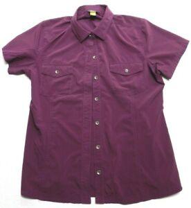 Women's shirt EDDIE BAUER size MEDIUM short sleeve travex blouse top (gz30)