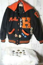 "Vintage Letterman 1983 ""Martha"" Horicon High Women's Jacket W/ Track Medals Pins"