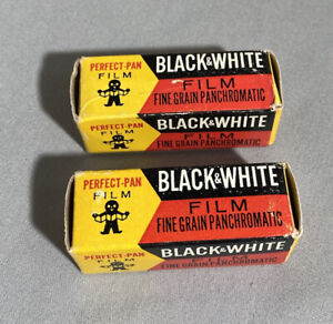 2 VINTAGE PERFECT-PAN 127 BLACK & WHITE FILM 1964 FACTORY SEALED MADE IN BELGIUM