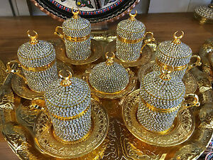 Handmade Turkish Coffee Espresso Serving Set Swarovski Crystal Coated Copper Cup